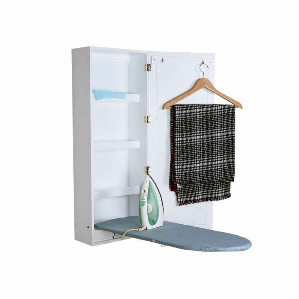 Ironing Board Cabinet Wall Mounted Storage Cabinet Foldable with Mirror,White