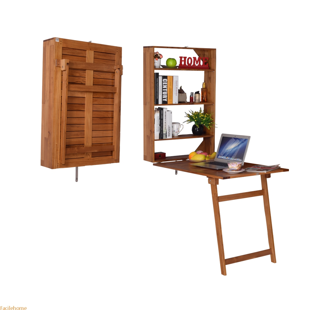 Wall-Mounted Teak Wood Desk
