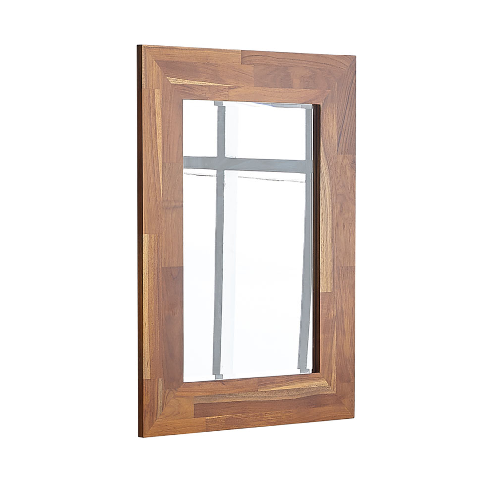 Wall Mounted Decorative Beveled Mirror with Teak Wood Frame