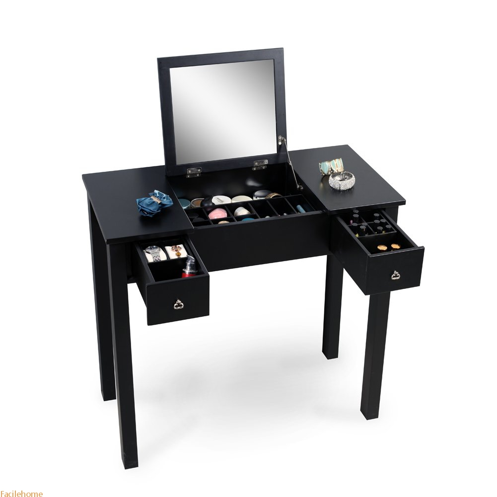 Dressing Table for Makeup with Mirror and Two Drawers