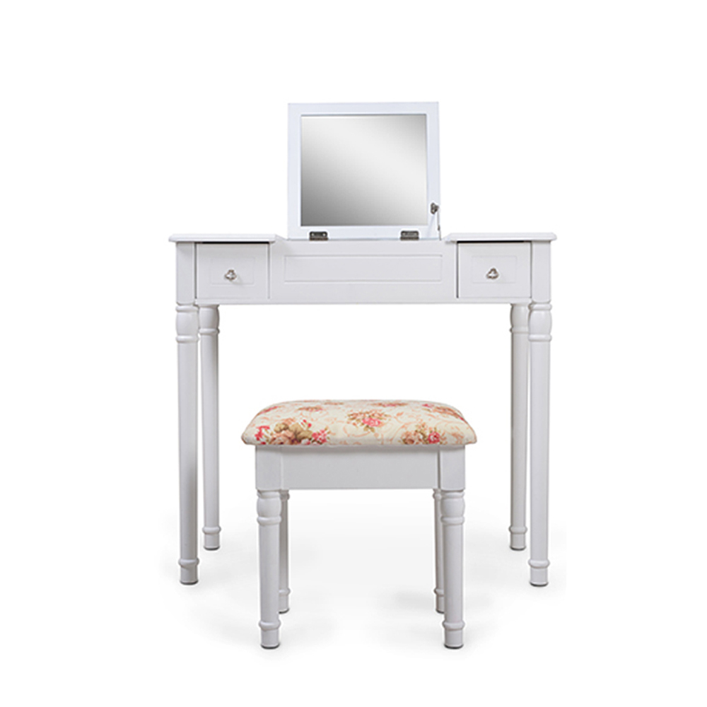 Vanity Table Set with Flip Top and 2 Drawers Movable Organizers Cushioned Stool
