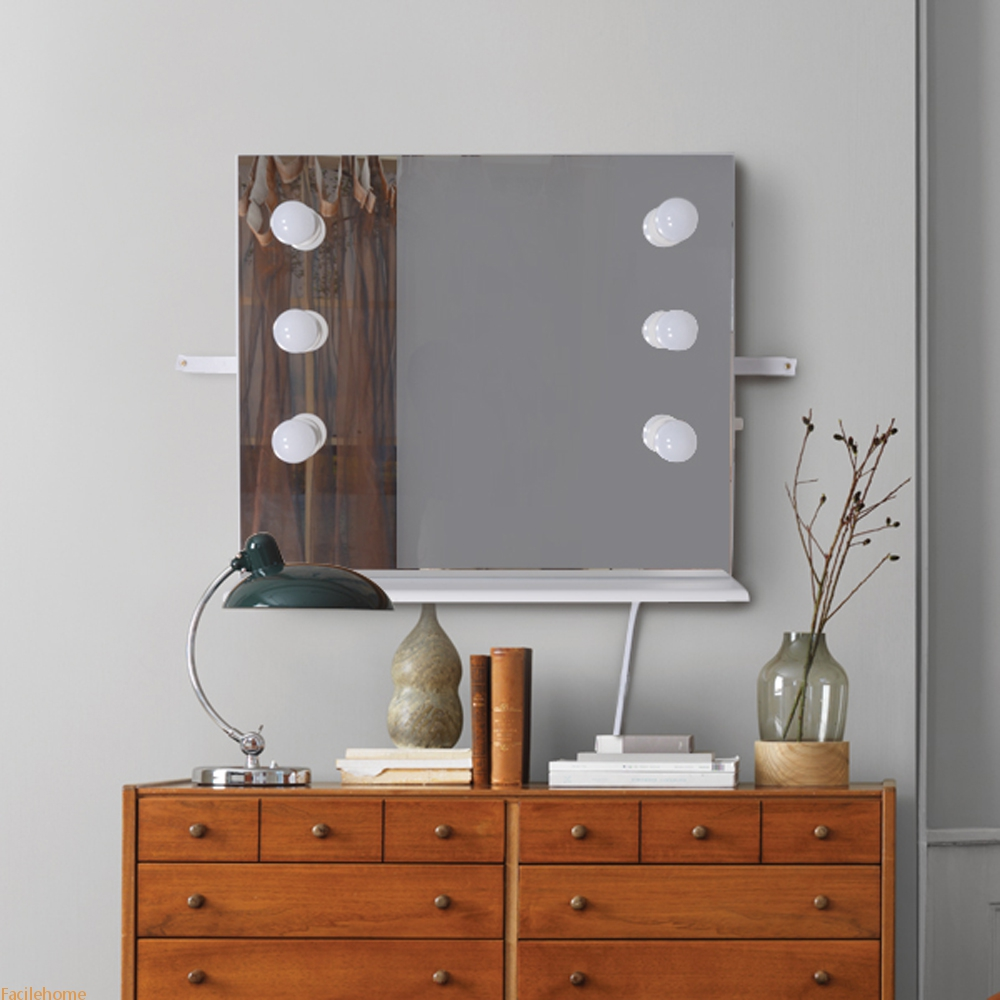 Wall Mounted Makeup Mirror with LED Lights Dressing Vanity Mirror with Wood Frame