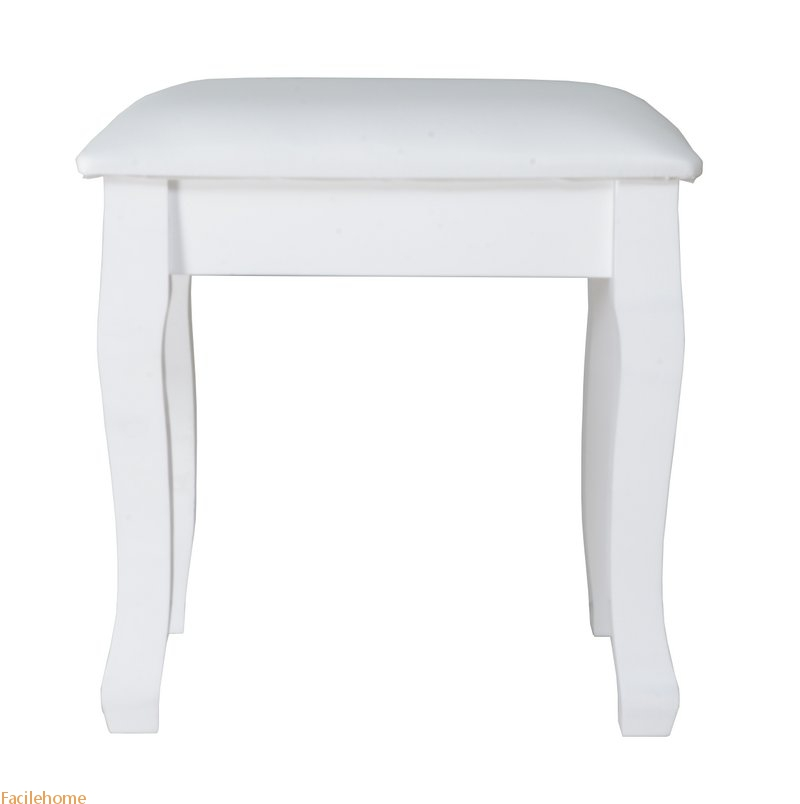 Wooden Dressing Vanity Stool with Cushion Piano and Solid Wood Legs Seat Chair
