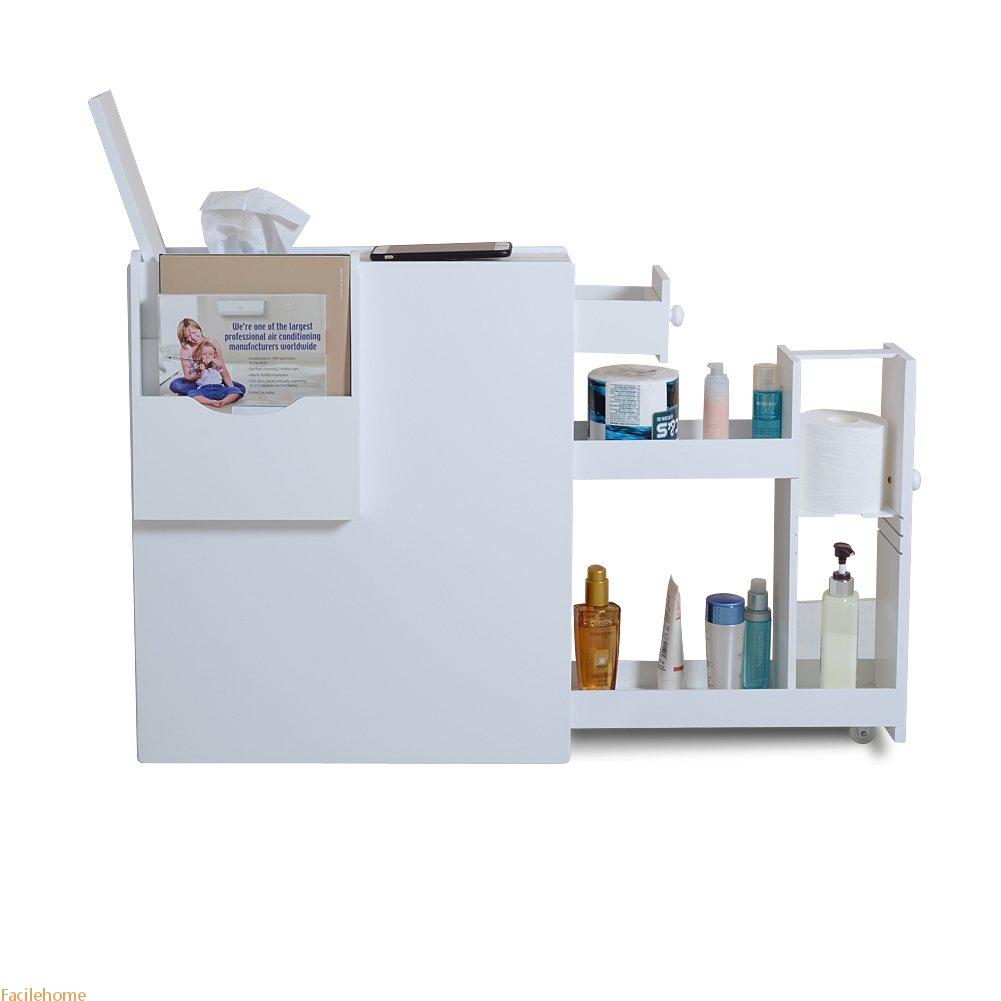 Bathroom Floor Cabinet Storage with Drawer and Magazine Holder