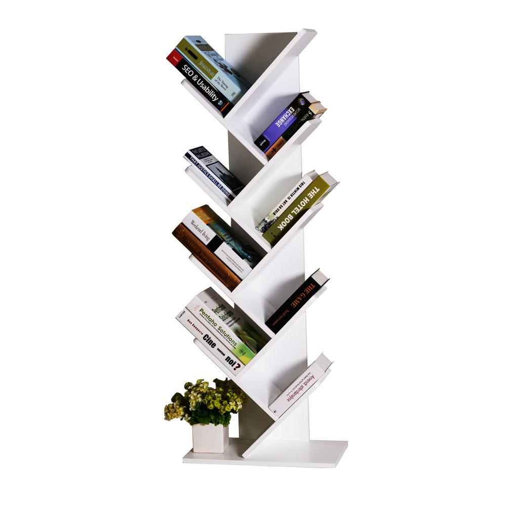 Tree Bookshelf Bookcase Book Organizer 9-Tier Multipurpose Shelf Display Racks,White