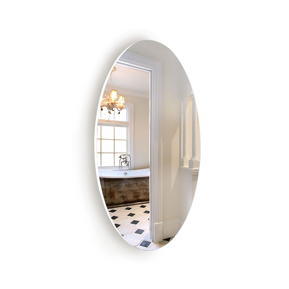 Oval Wall Mounted Mirror Dressing Mirror Frameless,Bedroom or Bathroom Mirror,Horizontal or Vertical