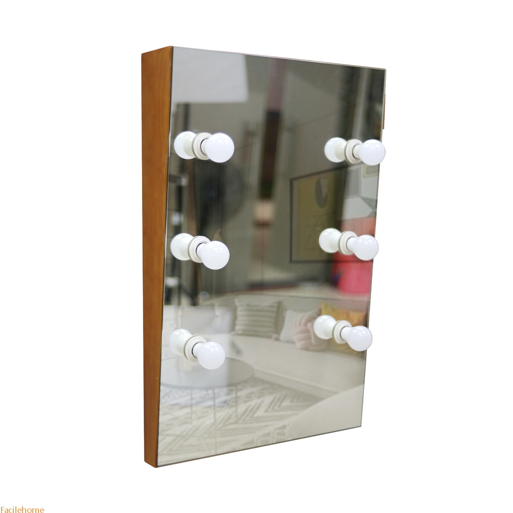 Solid Wood Wall Mounted Vanity Mirror with 6 LED Lights