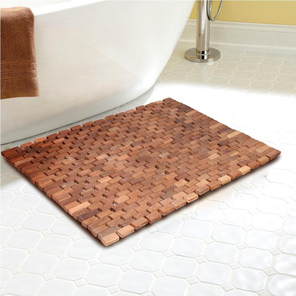 Teak Bath Mat 27.5X19.7X0.31-Inch with Mutiple Silica Gel Feet
