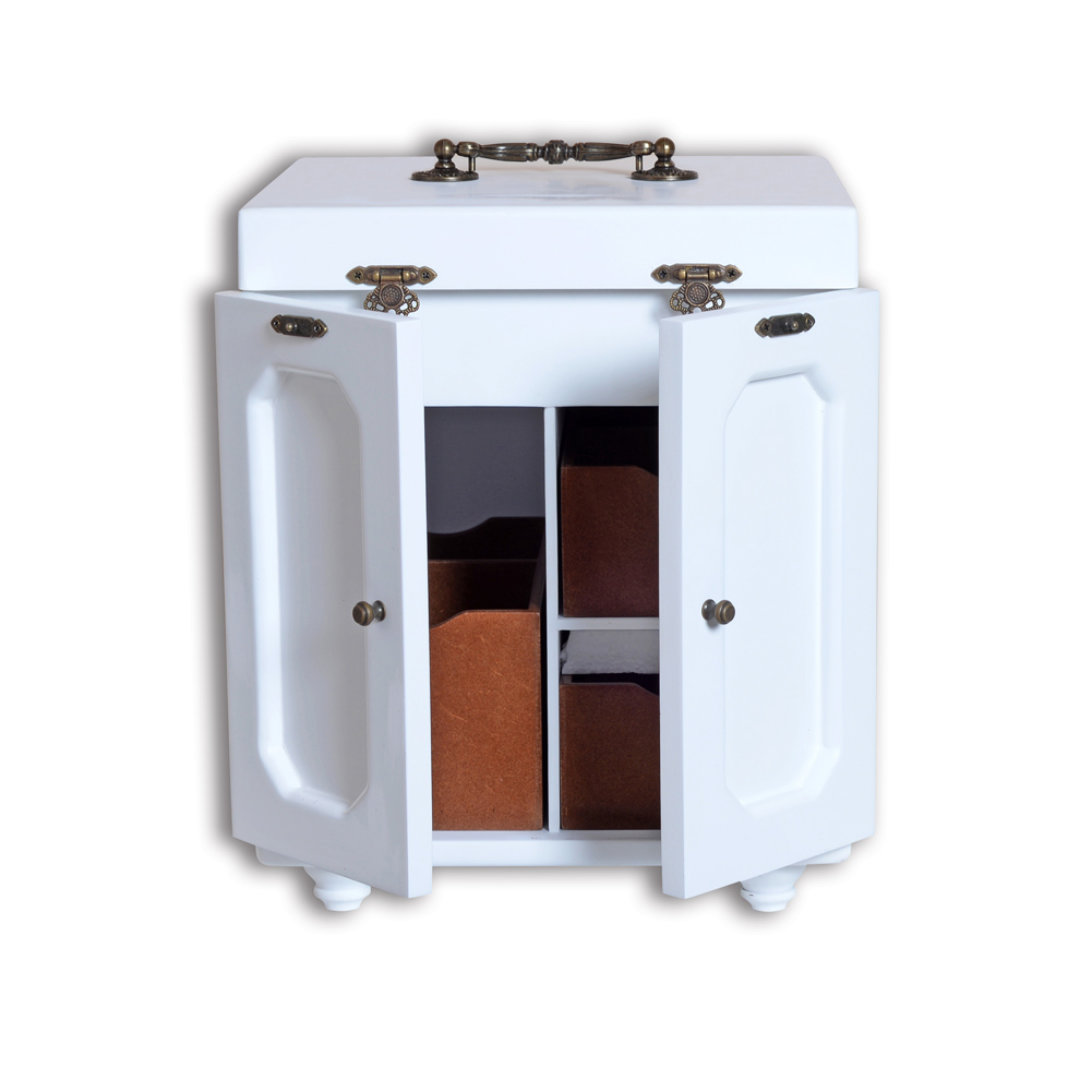 Mini Jewelry Box/Case for Makeup Ornaments Organizer with Dressing Mirror White