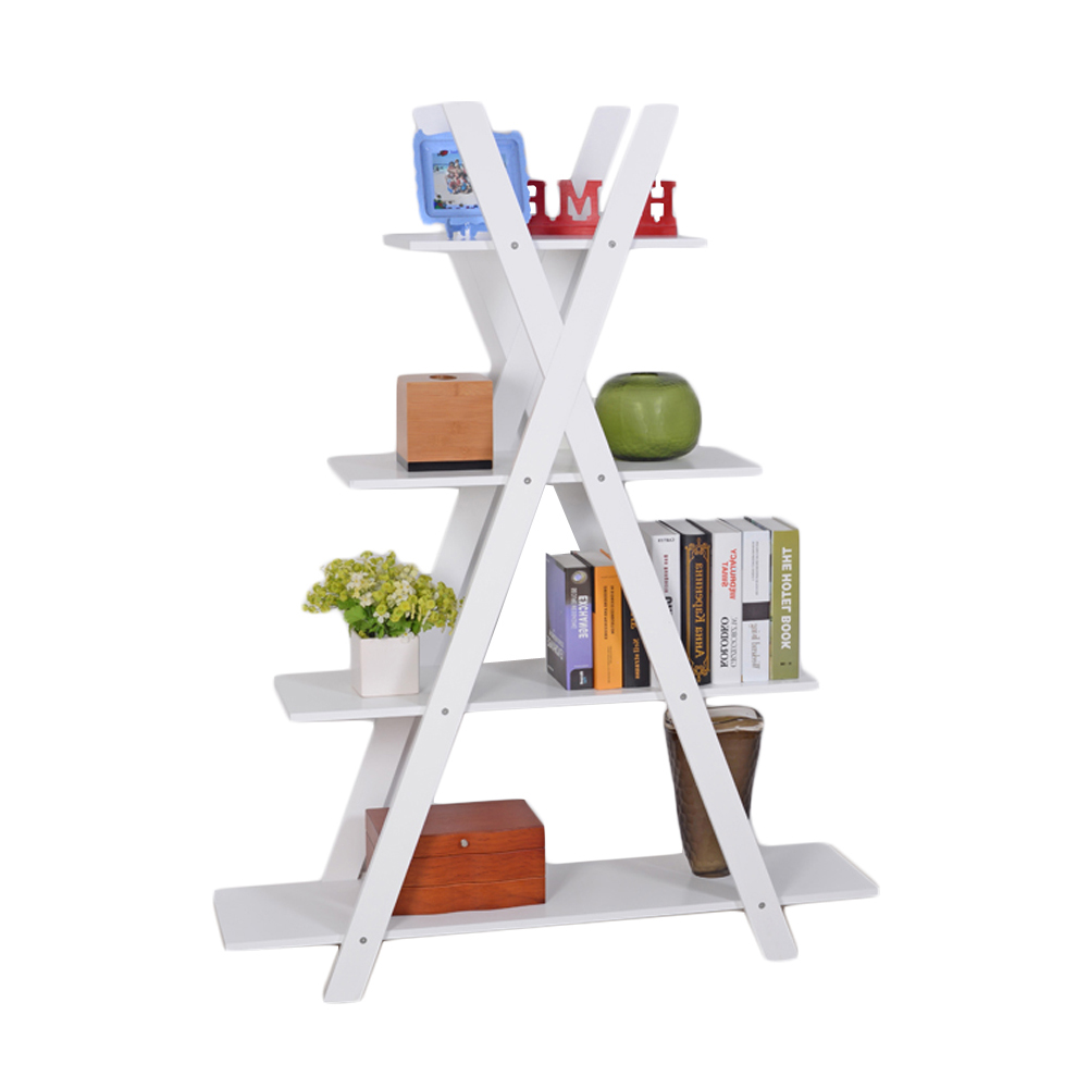 4-Tier X Shape Bookshelf Bookcase 4 Racks for Books,Potted Plant,MDF Wood,White